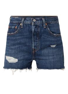 501 high waist shorts van denim met ripped details