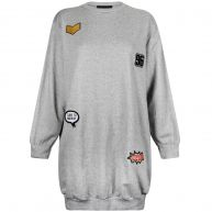 PATCHED OVERSIZED SWEATER GREY