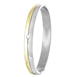 Stalen armband bangle staal/gold met zirkonia