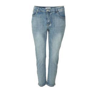 cropped slim fit jeans met zijstreep denim Jeans (Ladies fashion) (Plus Sizes)