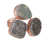 My Jewellery Gold Trio Drizzy Ring - Rose Black/Grey