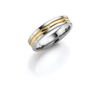 14K trouwring wit/geel diamant Kalina Dames H74