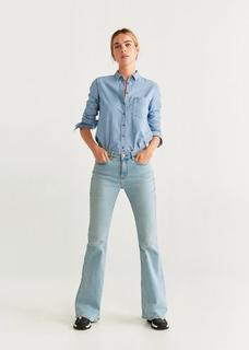 Denim blouse met borstzak