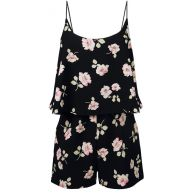 Flower Strap Playsuit - Black