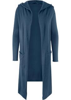 Dames lang vest met capuchon lange mouw in blauw