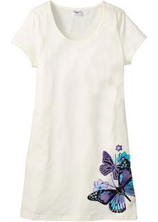 Dames nachthemd korte mouw in wit
