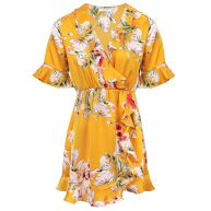 PRE-ORDER - Flower Wrap Dress - Yellow