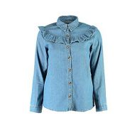 Petite Ariana Ruffle Detail Denim Shirt