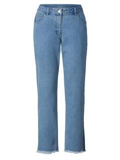 Slim Fit jeansmet franjes Blauw