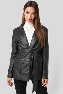 Tied Front Faux Leather Blazer