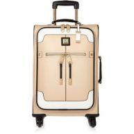 Beige koffer met kleurvlakken