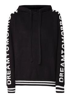 Major hoodie in wolblend met ingebreide tekst