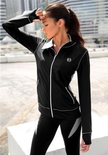 active by LASCANA jasje met rits in zwart met contrastnaden
