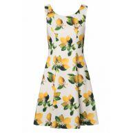 60s Marva Lemon Swing Dress in Ivory