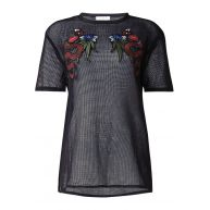 Sandro Opengewerkt T-shirt met borduursels en halslijn van zijde