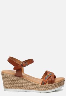Sandalen met sleehak cognac