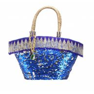 Uzurii beach bag medium  blauw textiel strandtas